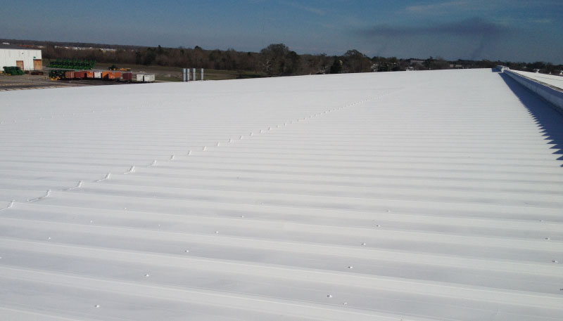 Pic of fluid-applied coating on metal rooftop